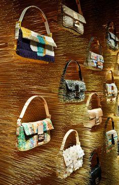 Baguette Wall at Fendi flagship store Paris, Avenue Montaigne Visual Merchandising Displays, Visual Display, Display Design, Retail Store Design, Retail Shop, Giuseppe Zanotti, Handbag Display, Jimmy Choo, Retail Design