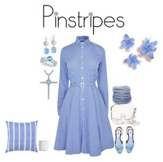 """""""Pinstripes"""" by polymorphing ❤ liked on Polyvore featuring MICHAEL Michael Kors, Polo Ralph Lauren, Tabitha Simmons, Talbots, Allurez, Sif Jakobs Jewellery, Skagen, Surya, Wedgwood and pinstripes"""