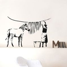 Banksy Zebra Stripes Wash Vinyl Wall Sticker  wall decals  mural wallpaper  for home  wall art   60*90CM Free shipping-in Wall Stickers from...