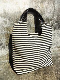 Classic Canvas Fabric Big Line Navy Blue And White Color - Diaper Bag - Shoulder bag - Cross Body Messenger - BK-C007. $19.99, via Etsy.