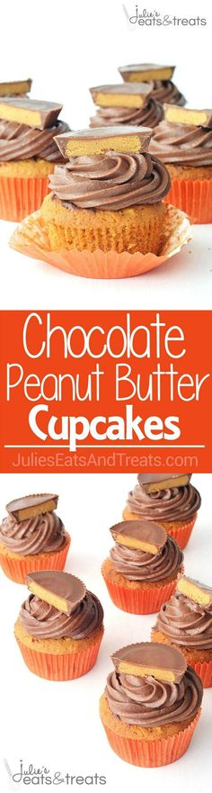 Buttery soft peanut butter cake topped with swirls of chocolate buttercream and finally, a gooey Reese's peanut butter cup ~ http://www.julieseatsandtreats.com (Gooey Chocolate Icing)