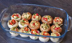 Vegetable and Garlic Stuffed Mushrooms. #vegan #recipes