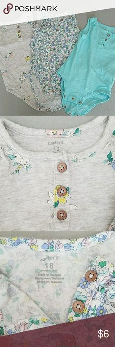 CARTERS ONESIE SET SIZE 18 MONTHS - 1 gray with floral design, 1 white with floral design, 1 aqua colored onsie set for $7. GUC! Smoke free home! Carter's One Pieces