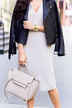 Celine bag + leather jacket.