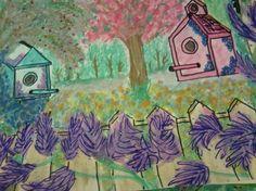 KELLY  BIRD HOUSES IN THE GARDEN
