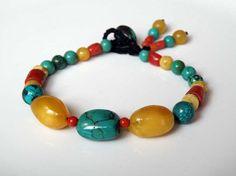 Tibetan Turquoise gemstone bracelet with Baltic Amber and natural Coral - tassel - macrame loop - Tribal Jewelry