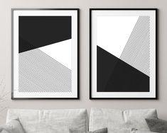 Minimalist Geometric Set of 2 Art Prints Black and White Wall image 0 Grey Wall Art, White Wall Decor, Black And White Wall Art, Modern Wall Art, Wall Art Sets, Large Wall Art, Wall Art Prints, Modern Art Paintings, Bullet Journal