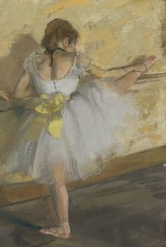 detail: Dancers Practicing at the Barre, 1877 Edgar Degas (French, 1834–1917) Mixed media on canvas