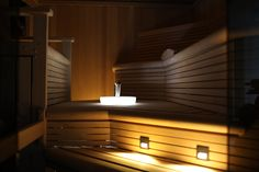 Custom sauna on Staten Island, with custom lighting and sink
