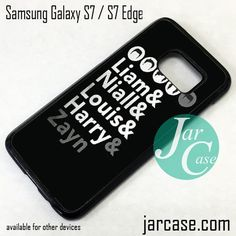 One Direction Charecters Name Phone Case for Samsung Galaxy S7 & S7 Edge