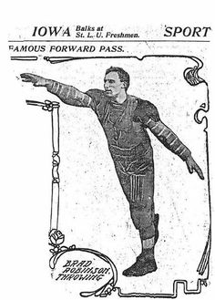 1906 St. Louis Post-Dispatch photograph of Brad Robinson, who threw the first legal forward pass and was the sport's first triple threat