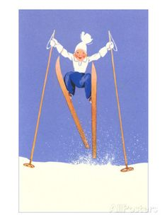 Young Child Skiing with Long Poles Kunst hos AllPosters.no
