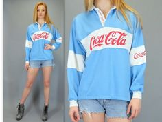 Vintage 80s Coca-Cola Coke Rugby Shirt Authentic Polo Style Blue White Stripe Long Sleeve Top Advertising Collectible Unisex Retro Hipster by BlueFridayVintage