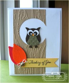 tree trunch with owl-punch owl. Masculine Birthday Cards, Handmade Birthday Cards, Masculine Cards, Owl Punch Cards, Owl Card, Embossed Cards, Bird Cards, Fall Cards, Scrapbook Cards