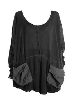 Barbara Speer Lagenlook-Layering Pullover in anthra old look Xl - XXL Mode bei www.modeolymp.lafeo.de.