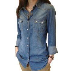 Womens Chambray Shirt Top Denim Shirts and Blouses Long Sleeve