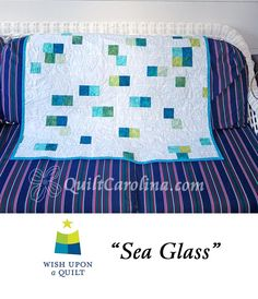 """""""Sea Glass"""" – this is a quick easy wall hanging quilt with a blue, green and yellow color theme reminiscent of sea glass! A 2017 Quilt! Carolina pattern."""