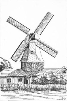 Windmill Landscape Pen and Ink Drawing by Artist Mark Webster -- Mark Adam Webster