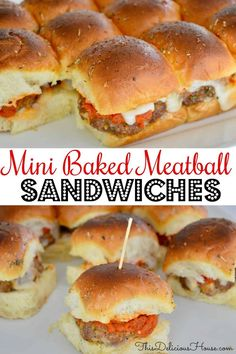 Mini Baked Meatball Sandwiches are the perfect party appetizer or main dish for your next get together. Made on King's Hawaiian Rolls, you are going to love this delicious and simple twist on traditional Italian meatball subs. Meatball Sliders, Meatball Sandwiches, Baked Meatball Subs, Mini Meatballs, Italian Meatballs, Italian Appetizers, Appetizers For Party, Sandwiches For Parties, Cold Appetizers