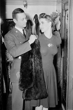 A soldier and his date, 1940 fashion style rayon dress swing war era 40s photo print ad found woman ladies women