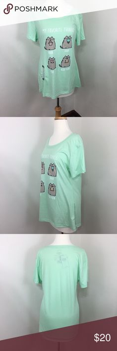"""NWT Pusheen XXL graphic tee Mint green All measurements are taken with the clothing laying flat. Bust 19"""" stretches to 23"""" Length 27"""" Hot Topic Tops Tees - Short Sleeve"""