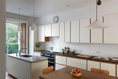 Modern White, Reclaimed Wood, Family, Narrow Kitchen - Kitchen Design Ideas (houseandgarden.co.uk)
