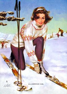 Image gallery for the vintage pinup art of Fritz Willis Pinup Art, Pin Up Girls, Usa Girls, Mode Au Ski, Illustrations Vintage, Retro Illustration, Vintage Ski Posters, Ski Bunnies, Estilo Pin Up