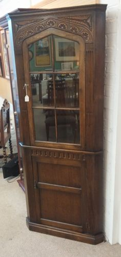 Oak Carved Corner Cabinet now available China Cabinet, 1930s, Corner, Carving, Interior Design, Storage, Furniture, Home Decor, Nest Design