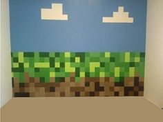 Green & Brown Pixels Design Removable and Repositionable Wall Stickers with Clouds. Huge 1.5M Wide by 1M High. Create a Full Bedroom Makeover!