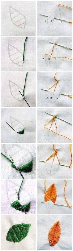 Marvelous Crewel Embroidery Long Short Soft Shading In Colors Ideas. Enchanting Crewel Embroidery Long Short Soft Shading In Colors Ideas. Embroidery Leaf, Embroidery Stitches Tutorial, Learn Embroidery, Hand Embroidery Patterns, Embroidery Techniques, Cross Stitch Embroidery, Brother Embroidery, Embroidery Tattoo, Machine Embroidery