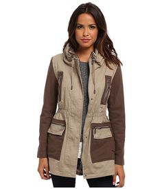 DKNY Drawstring Anorak Canvas Combo in Khaki ♥ Love this! Also in an Army or Forest Green/ color combo with Black would be swell as well ; Parka Outfit, Forest Green Color, Cute Jackets, I Dress, Military Jacket, Style Me, Coat, Outfits, Clothes