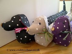 Vintage Style Sausage Dog Draught Draft Excluder - Taupe Dotty  £29.50