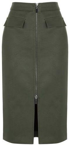 Zip Front Pencil Skirt