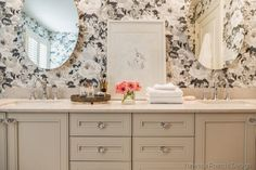 COTTAGE AND VINE: Black and White Wall Paper in Bathrooms