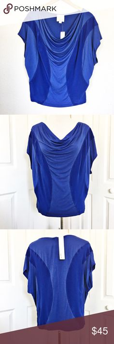 "aryn K Drapery Style Blouse Gorgeous royal blue Blouse by aryn K.  Features a Drapery Style neckline and butterfly sleeves.  Buttery soft being made of 95% rayon and 5% spandex.  Measurements laid flat: bust 20"" and length from top of shoulder to hem 22"". aryn K Tops Blouses"