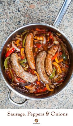Sausage, Peppers and Onions! Italian sausages cooked with bell peppers, sweet onions, crushed tomatoes, and garlic. Served in a hoagie roll or over pasta or polenta. Onion Recipes, Sausage Recipes, Pork Recipes, Cooking Recipes, Cooking Kale, Bratwurst Recipes, Cooking Pork, Recipies, Sausage Peppers And Onions