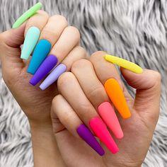 Neon Acrylic Nails, Simple Acrylic Nails, Neon Nails, Glue On Nails, Solid Color Nails, Neon Nail Colors, Different Color Nails, Colorful Nails, Neon Nail Designs
