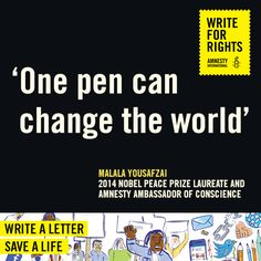 Write For Rights with Amnesty International Canada to free prisoners of conscience, support human rights defenders and end urgent cases of human rights abuse. Human Rights Day, Amnesty International, Nobel Peace Prize, Change The World, Prison, Acting, Messages, Lettering, Letter Writing