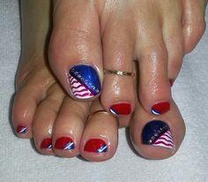 4th of July nail art. Model: Terri