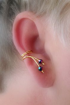 Ear Cuff Pair,Gorgeous Aurora Borealis tiny Crystals Ear Wrap. $15.00, via Etsy.