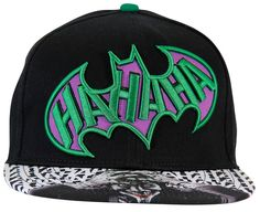 This flat brim snapback hat features an embroidered batman logo with HAHAHA inside of it and a sublimated joker art on the brim. Officially licensed product.