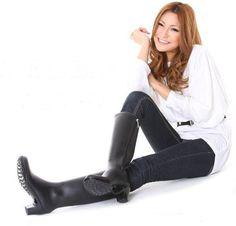 Black Rubber High Heel Boots