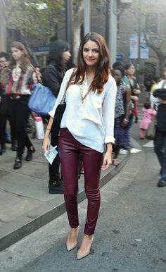 blouse + burgundy leather pants