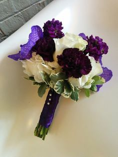Purple and White attendants bouquet - Stock, Hydrangea, Vanda orchids, carnations, and pitt. #studioag #studioagdesign