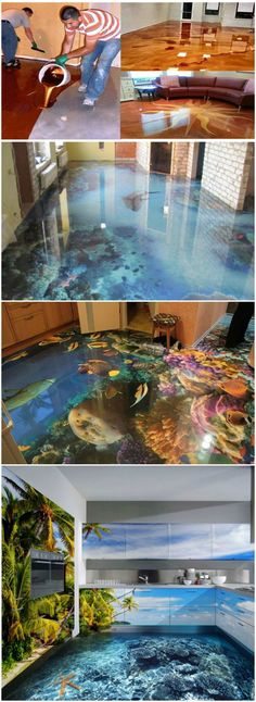 How To Create Stunning Metallic Epoxy Floors – Innenraum wohnideen – Home crafts Epoxy Floor Diy, Metallic Epoxy Floor, 3d Flooring, Basement Flooring, Flooring Ideas, Basement House, Stained Concrete, Concrete Floors, Diy Concrete