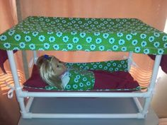 """My original 18"""" doll bed from PVC pipe. adventureswithahrens.blogspot.com Share it with your friends and find the other tutorials on the blog!"""