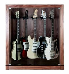 The STUDIO  guitar display case cabinet for up to five guitars.