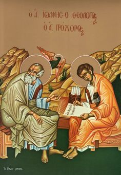 "wonderful article - ""Saint John, the 'Apostle of Love'"" http://christianorthodox.wordpress.com/2009/09/27/st-john-the-apostle-of-love/ (John and his disciple Prochorus)"