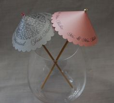 Personalized Cocktail Umbrellas (1 Rose Pink Sample) by AutumnJo