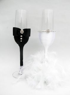 Hand Decorated Champagne Glasses Handmade by HANDMADEONLYFORYOU